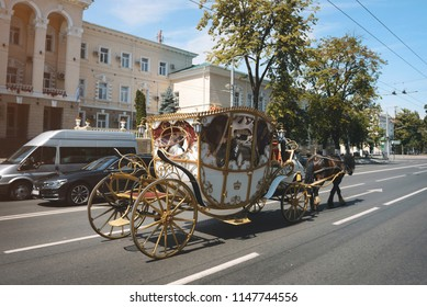 fairy carriage with horse riding on city's street