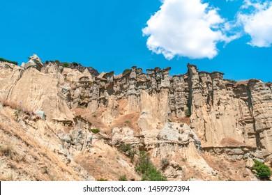 Fairy chimneys of geological area canyon in Kuladokya, Manisa.