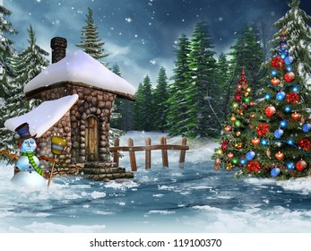 Fairy cottage with a snowman and Christmas trees