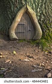 A Fairy Door In A Woodland Park.