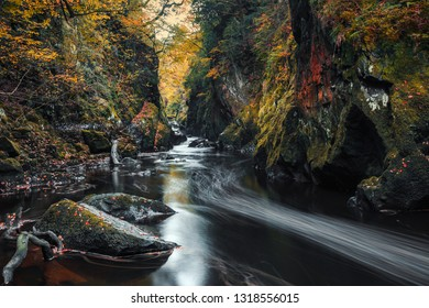 Fairy Glen Gorge waterfall at autumn in Snowdonia National Park, North Wales, UK