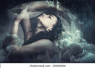 fairy like fantasy woman with veil