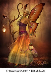 Fairy Lilith - A fairy named Lilith carries a lantern making her way through the magical forest.