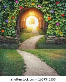 Fairy magic enchanted landscape with road and Mysterious gate sunny entrance
