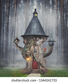 Fairy mystery tree house in fantasy forest with stone road