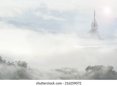 fairy palace in clouds
