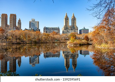 Fairy park in a fabulous city.The Central Park  at Autumn. New York City