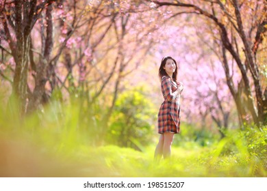 Fairy portrait young girl teen in plaid. Spring day, blooming cherry forest,Chiangmai, north of thailand
