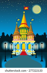 fairy princess castle at night in the moonlight and lanterns