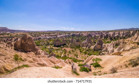 Fairy rock formation in the mountains in Cappadocia, Central Anatolia,Turkey