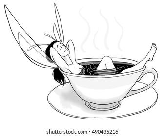 A fairy soaks inn a relaxing cup of black coffee.