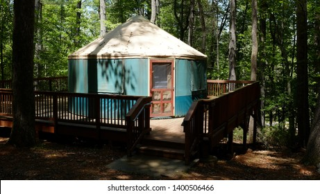 Fairy Stone State Park / Virginia - May 17, 2019: The rustic strong-back tent accommodation known as a yurt in Fairy Stone State Park, Virginia.
