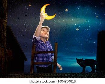 A fairy tale about a child who took the moon out of the sky