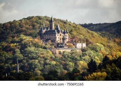 Fairy tale castle in Wernigerode in autumn time