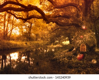 Fairy tale with elf house and pumpkin,rabbit and lights in the forest,fantasy picture