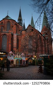 Fairy tale forest at the Church of Saint Mary in Luebeck, Germany is built up during the Christmas season