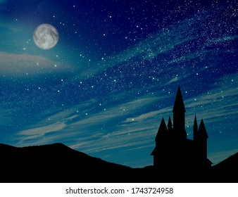 Fairy tale. Magnificent castle under starry sky with full moon at night