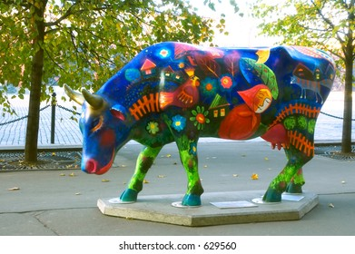 Fairy tale painted plactic cow at the Red Square [#5206]