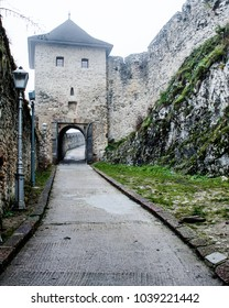 Fairy tale road to ancient Trencin Castle, Western Slovakia founded under Roman Empire
