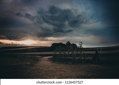 Fairy tale sunrise near the lavender field in  Poland