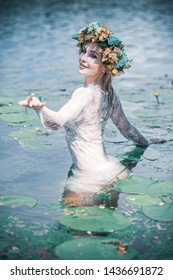 Fairy tales and folklore, image of the drowned Ophelia river maiden or mavka, Slavic and European tale