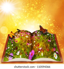 Fairy tales from magic book.  fantasy backgrounds with beauty bokeh