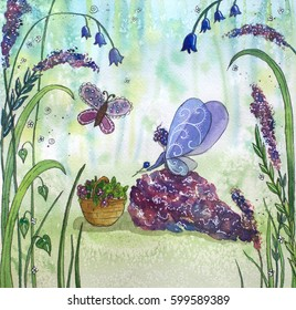 Fairy in th forest picking flowers. Watercolor illustration.