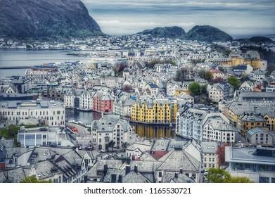 Fairy town. Aalesund, Norway