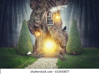 Fairy tree house in dark spooky fantasy forest