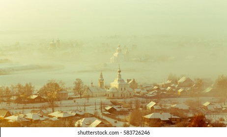 Fairy winter landscape misty morning in Suzdal, Russia