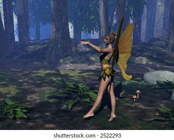 a fairy in the wood with trees