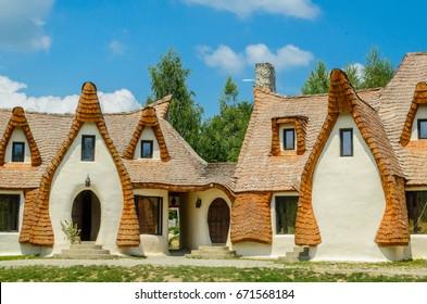 Fairytale clay castle of Porumbacu village, in Sibiu Region, Romania Sibiu, Romania Fairytale castle of Porumbacu village.