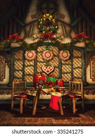 Fairytale cottage with Christmas garlands, gifts and gingerbread ornaments