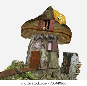 Fairy-tale house of stump with windows, spider web and leaf. Wooden house for dwarfs. 3d illustration