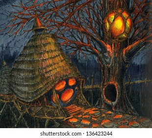 The fairy-tale hut in the dark woods lit fantastic lantern
