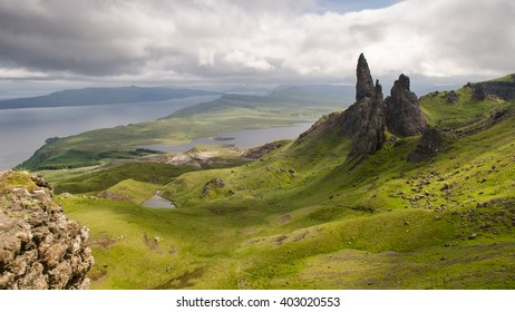 The fairytale landscape of the Trotternish peninsula on the Isle of Skye in the Highlands of Scotland, with the landslip stacks of the Old Man of Storr.