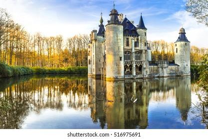 fairytale medieval castles of Europe.Belgium, Antwerpen region