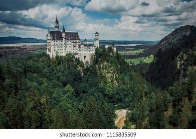 The fairytale Neuschwanstein Castle in South Bavaria, Germany.