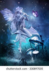 Fairytale scene with beautiful fairy playing flute, magic butterfly and mushrooms