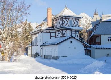 fairytale snow covered house