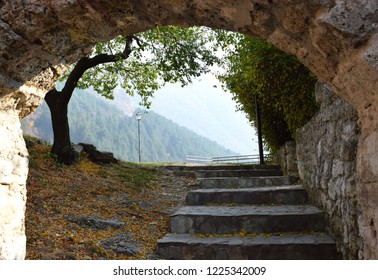 fairytale view in entrance of Travnik fortress in autumn time. entrance which  is calling you to keep going without regrets. Beauty of Bosnia and Herzegovina