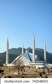 Faisal mosque in Islamabad Pakistan is shaped like a Bedouin tent, surrounded by four  tall minarets.