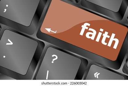 faith button on computer pc keyboard key