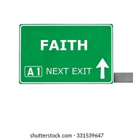 FAITH road sign isolated on white