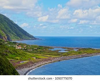 Faja dos Cubres, elevated view, Sao Jorge Island, Azores, Portugal
