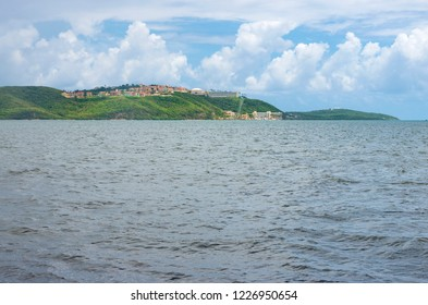 fajardo bay and hills along atlantic coastline in puerto rico