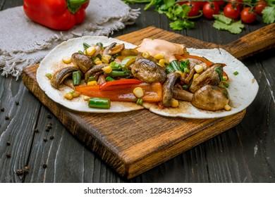 fajitas vegetarian on plate