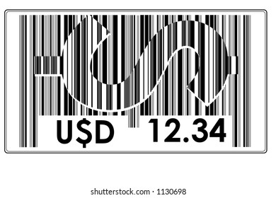 "Fake Bar Code with text ""U$D"" a big $ and space to insert price #10"