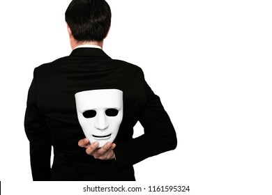 Fake business man isolated on white background with clipping path