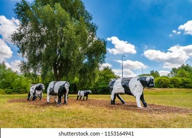Fake cows at the park